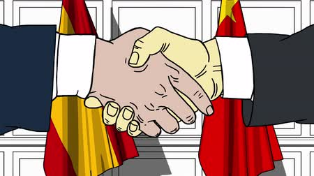 alliance : Businessmen or politicians shaking hands against flags of Spain and China. Meeting or cooperation related cartoon animation
