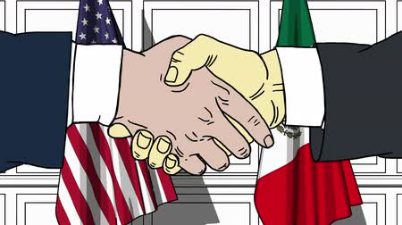 treaty : Businessmen or politicians shaking hands against flags of USA and Mexico. Meeting or cooperation related cartoon animation