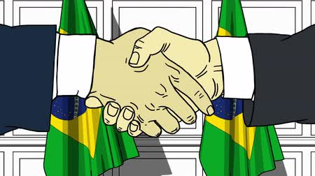 brazil : Businessmen or politicians shaking hands against flags of Brazil. Meeting or cooperation related cartoon animation
