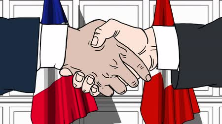 treaty : Businessmen or politicians shaking hands against flags of France and Switzerland. Meeting or cooperation related cartoon animation