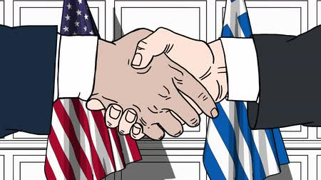 greece flag : Businessmen or politicians shake hands against flags of USA and Greece. Official meeting or cooperation related cartoon animation Stock Footage
