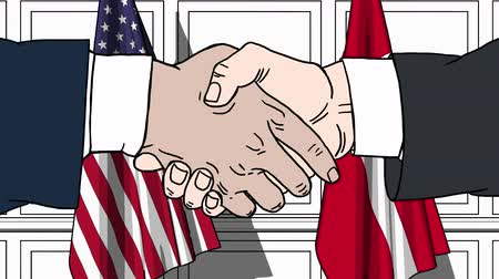 dánština : Businessmen or politicians shake hands against flags of USA and Denmark. Official meeting or cooperation related cartoon animation