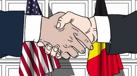 belga : Businessmen or politicians shake hands against flags of USA and Belgium. Official meeting or cooperation related cartoon animation