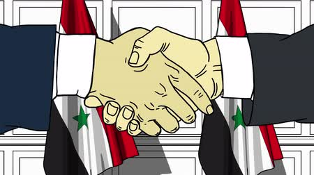 syrian : Businessmen or politicians shake hands against flags of Syria. Official meeting or cooperation related cartoon animation