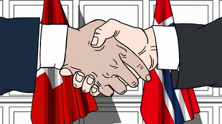 treaty : Businessmen or politicians shake hands against flags of Switzerland and Norway. Official meeting or cooperation related cartoon animation Stock Footage