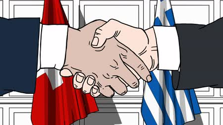 treaty : Businessmen or politicians shake hands against flags of Switzerland and Greece. Official meeting or cooperation related cartoon animation Stock Footage
