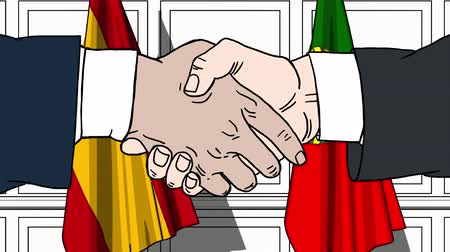 spaniard : Businessmen or politicians shake hands against flags of Spain and Portugal. Official meeting or cooperation related cartoon animation