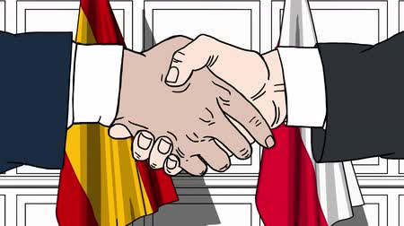 spaniard : Businessmen or politicians shake hands against flags of Spain and Poland. Official meeting or cooperation related cartoon animation