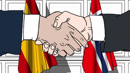 spaniard : Businessmen or politicians shake hands against flags of Spain and Norway. Official meeting or cooperation related cartoon animation