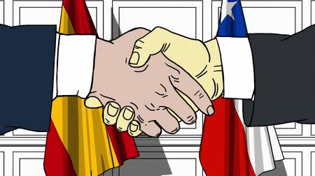 spaniard : Businessmen or politicians shake hands against flags of Spain and Chile. Official meeting or cooperation related cartoon animation Stock Footage