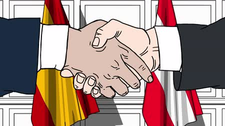 austrian : Businessmen or politicians shake hands against flags of Spain and Austria. Official meeting or cooperation related cartoon animation