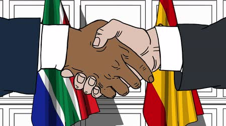 treaty : Businessmen or politicians shake hands against flags of South Africa and Spain. Official meeting or cooperation related cartoon animation