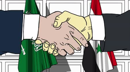 syrian : Businessmen or politicians shake hands against flags of Saudi Arabia and Syria. Official meeting or cooperation related cartoon animation