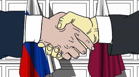 úředník : Businessmen or politicians shake hands against flags of Russia and Qatar. Official meeting or cooperation related cartoon animation