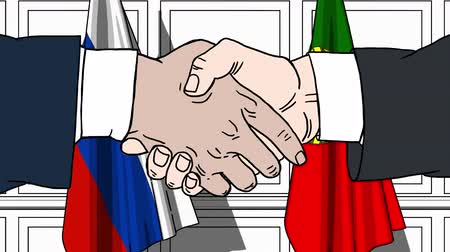 autoridade : Businessmen or politicians shake hands against flags of Russia and Portugal. Official meeting or cooperation related cartoon animation