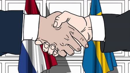 comics : Businessmen or politicians shake hands against flags of Netherlands and Sweden. Official meeting or cooperation related cartoon animation
