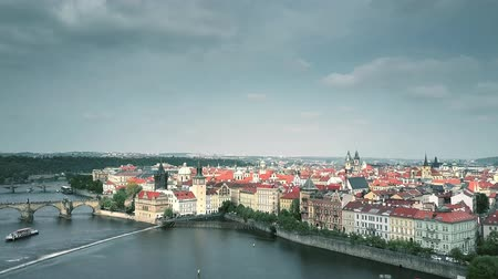 charles bridge : Establishing aerial shot of Prague involving Vltava riverbank, the Czech Republic Stock Footage