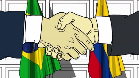 Колумбия : Businessmen or politicians shake hands against flags of Brazil and Colombia. Official meeting or cooperation related cartoon animation