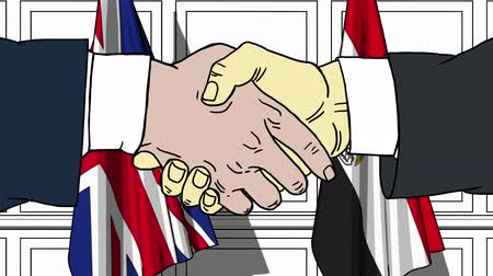 colaboração : Businessmen or politicians shake hands against flags of Britain and Egypt. Official meeting or cooperation related cartoon animation