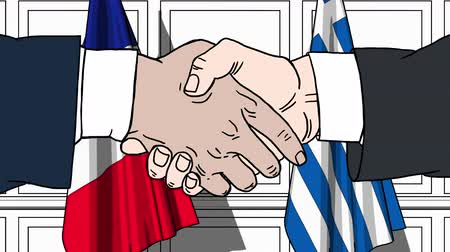greece flag : Businessmen or politicians shake hands against flags of France and Greece. Official meeting or cooperation related cartoon animation