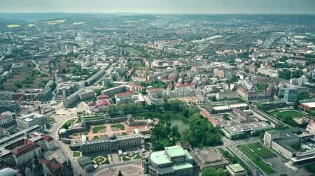 rathaus : High altitude aerial view of historic part of Dresden, Germany Stock Footage