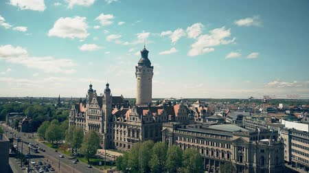 rathaus : LEIPZIG, GERMANY - MAY 1, 2018. Aerial shot of the Neues Rathaus or New Town Hall Stock Footage