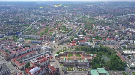 rathaus : High altitude aerial panoramic shot of Dresden, Germany Stock Footage