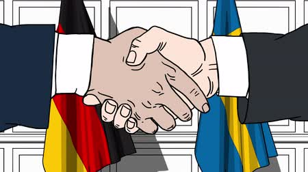 немецкий : Businessmen or politicians shake hands against flags of Germany and Sweden. Official meeting or cooperation related cartoon animation