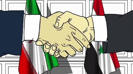 syrian : Businessmen or politicians shake hands against flags of Iran and Syria. Official meeting or cooperation related cartoon animation