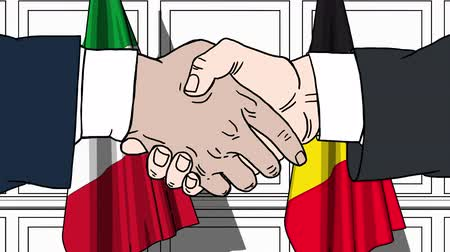 autoridade : Businessmen or politicians shake hands against flags of Italy and Belgium. Official meeting or cooperation related cartoon animation