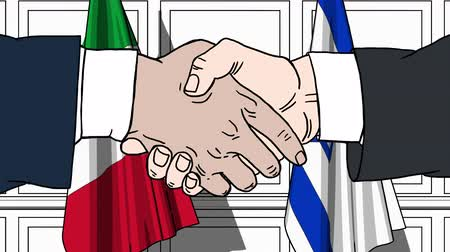 izrael : Businessmen or politicians shake hands against flags of Italy and Israel. Official meeting or cooperation related cartoon animation
