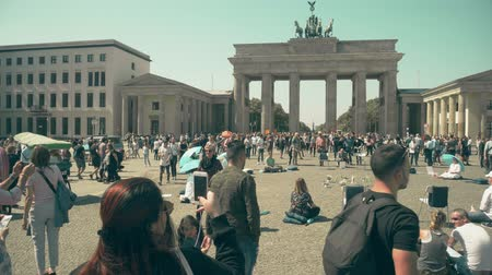 point of interest : BERLIN, GERMANY - APRIL 30, 2018. Crowded square near the Brandenburg Gate