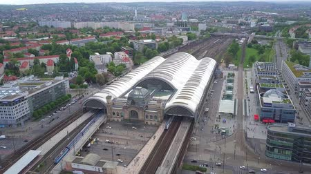 rapid transit : DRESDEN, GERMANY - MAY 2, 2018. Aerial view of central railway station