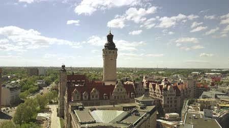 rathaus : LEIPZIG, GERMANY - MAY 1, 2018. Aerial view of the Neues Rathaus or New Town Hall