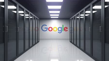 штаб квартира : Google logo on the wall of the server room. Editorial 3D animation