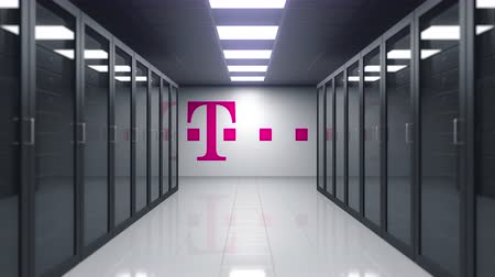 gsm : T-Mobile logo on the wall of the server room. Editorial 3D animation Stock Footage
