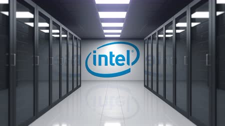 központi : Intel Corporation logo on the wall of the server room. Editorial 3D animation