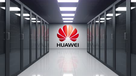 inc : Huawei logo on the wall of the server room. Editorial 3D animation