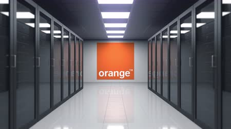 servers : Orange S.A. logo on the wall of the server room. Editorial 3D animation