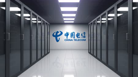 logotyp : China Telecom logo on the wall of the server room. Editorial 3D animation