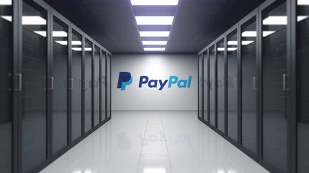 штаб квартира : PayPal logo on the wall of the server room. Editorial 3D animation