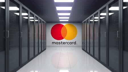 штаб квартира : MasterCard logo on the wall of the server room. Editorial 3D animation Стоковые видеозаписи