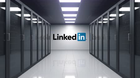 inc : LinkedIn logo on the wall of the server room. Editorial 3D animation Stock Footage