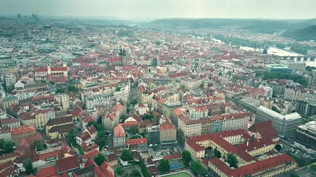 charles bridge : High altitude aerial shot of Prague townscape, the Czech Republic Stock Footage