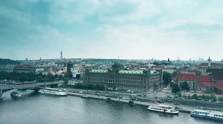 charles bridge : PRAGUE, CZECH REPUBLIC - MAY 3, 2018. Aerial view of the Ministry of Industry and Trade Stock Footage