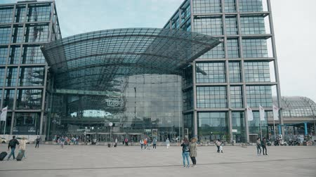 main : BERLIN, GERMANY - MAY 1, 2018. Hauptbahnhof or Main railway station facade Stock Footage