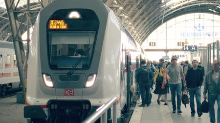 technics : LEIPZIG, GERMANY - MAY 1, 2018. Train arrival at Hauptbahnhof or Central railway station Stock Footage