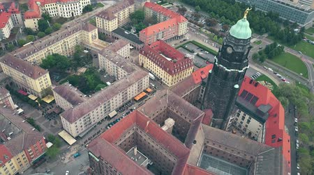 rathaus : DRESDEN, GERMANY - MAY 2, 2018. Aerial view of City Hall clock tower and the townscape