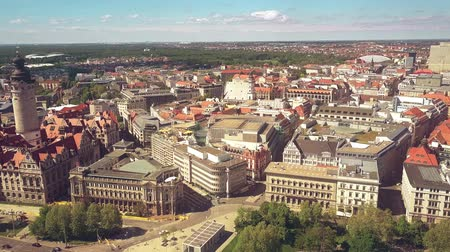 saxon : LEIPZIG, GERMANY - MAY 1, 2018. Aerial view of the New Town Hall and townscape Stock Footage