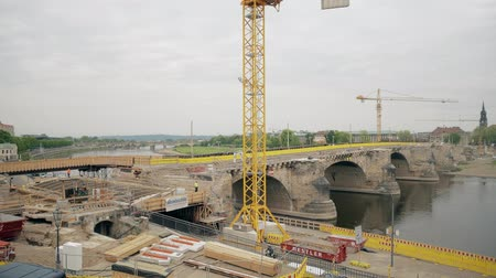saxon : DRESDEN, GERMANY - MAY 2, 2018. Historic Augustusbrucke Bridge renovation works Stock Footage
